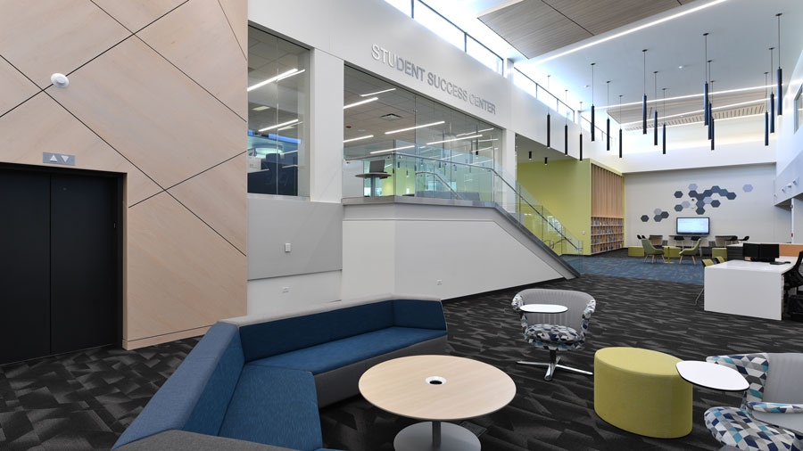 Photo of the newley renovated entrance to the Student Success Center